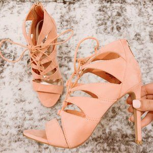 MADDEN GIRL LIGHT PINK RACEYYY LACE-UP HEELS